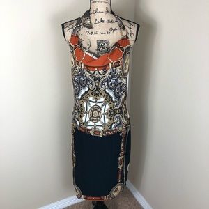 Cache Halter Drape Neck Scarf Print Dress L
